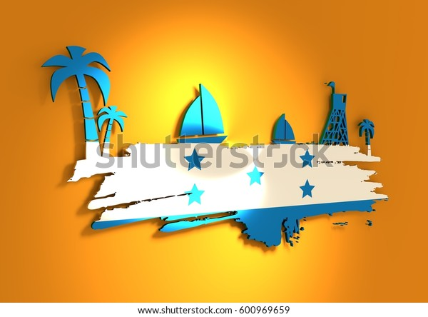 Vintage seaside view poster. Palm and safeguard tower on the beach. Yacht in the ocean. Silhouettes on grunge brush stroke. 3D rendering. Metallic glossy material. Honduras flag