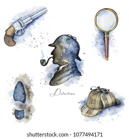 Vintage set with hat, magnifier, pistol, footprint and silhouette of Sherlock Holmes on white background. Watercolor hand drawn illustration