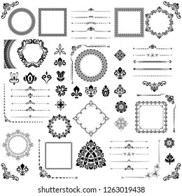 Vintage set of horizontal, square and round elements. Different elements for decoration, frames, cards, menus, backgrounds and monograms. Classic patterns. Set of black and white patterns