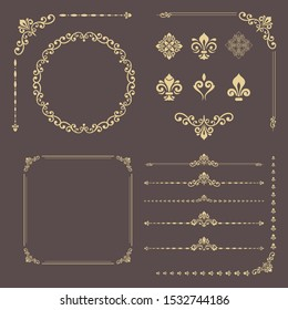 Vintage set of horizontal, square and round elements. Different elements for design, frames, menus, backgrounds and monograms. Classic patterns. Set of vintage golden patterns