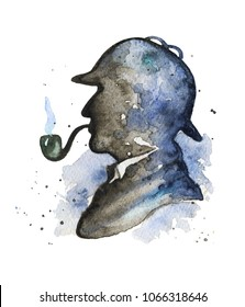 Vintage silhouette of Sherlock Holmes with smoking pipe and hat on watercolor splotches. Watercolor hand drawn illustration