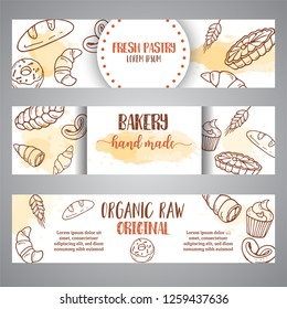 Vintage sketch bakery banners, pastries, sweets, desserts, cake, muffin and bun. Hand drawn design for menu, banner, card, bakery shop