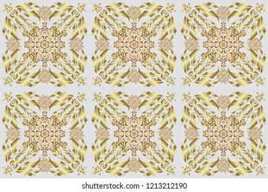 Vintage sketch. Elegant retro raster seamless pattern. Golden pattern on a gray background.