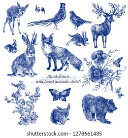 Vintage sketch forest animals design . Fairytale forest. hand drawn wild nature line graphics. Indigo color.