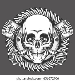 Vintage Skull With Crossed Piston and Motorcycle Gear Emblem. Biker Club or Motorcycles workshop design element. illustration in engraving style.