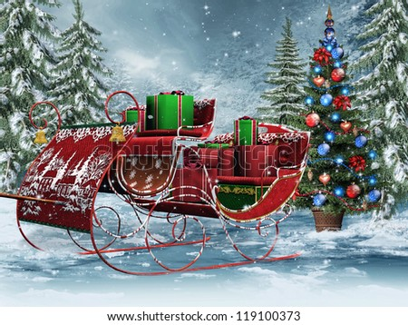 vintage sleigh with christmas gifts - Vintage Sled Christmas Decoration