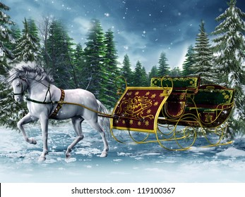 Vintage sleigh and a white horse in a forest