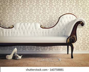 vintage sofa and wallpaper wall (retro-style illustration)