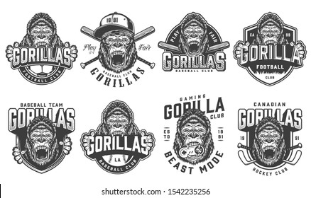 Vintage sport teams logotypes set with ferocious gorilla mascots of football hockey baseball gaming clubs in monochrome style isolated illustration