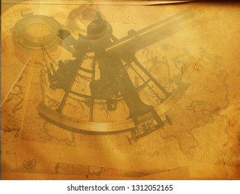 Vintage steampunk astrolabe map, travel paper canvas, compass grunge old retro wallpaper
