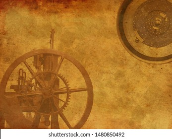 Vintage Steampunk clock background, old retro canvas paper map
