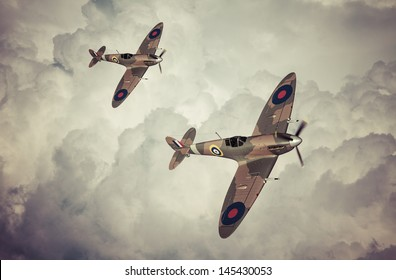 Vintage style colored artwork of a Battle of Britain era, British RAF Spitfire fighter at high altitude. This aircraft became famous during the summer of 1940 - Artist's impression