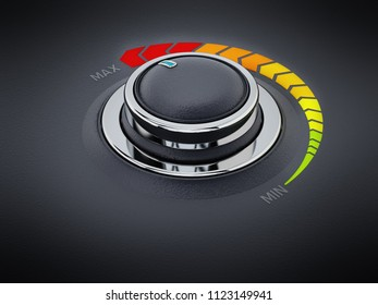 Vintage style control knob dial with text area. 3D illustration.