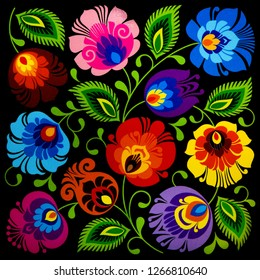 Vintage style of floral pattern background. Polish traditional folklore.