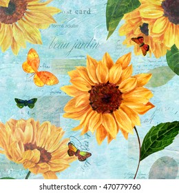 Vintage style greeting card with hand painted watercolor sunflowers and butterflies on teal toned scraps of old letters; visible text includes 'beautiful garden' in French
