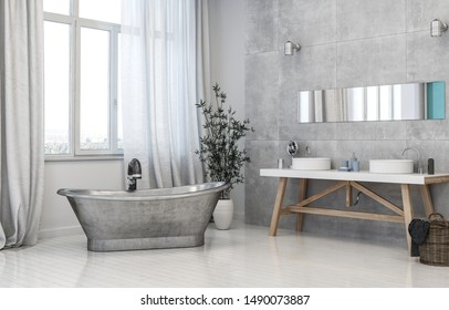 Vintage style grey monochromatic trendy bathroom interior with metal tub, trestle vanities below a mirror and potted plant in front of long windows with drapes. 3d rendering.