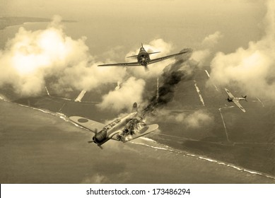 'Vintage Style' image of a World War 2 US fighter plane shooting down Japanese torpedo bomber over Saipan. (Artists Impression)