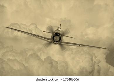 同盟国によって「ジョージ」と呼ばれる第2次世界大戦時代の戦闘機の「ビンテージスタイル」の画像。