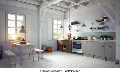 vintage style kitchen interior. 3d rendering concept design
