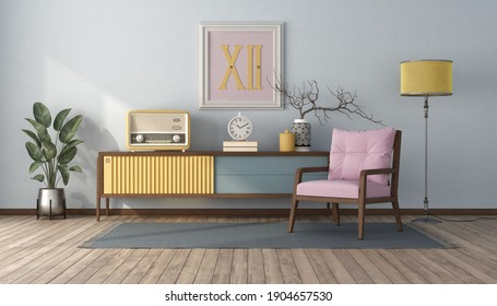 Vintage style living room with pastel color,sideboard and pink armchair - 3d rendering