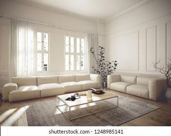 Vintage estilo penthouse interior - 3 d de rendimiento