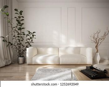 Vintage style penthouse living room interior - 3 d render