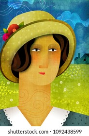 A vintage style portrait of a woman wearing a hat on a summer landscape in the background. 1900s fashion illustration