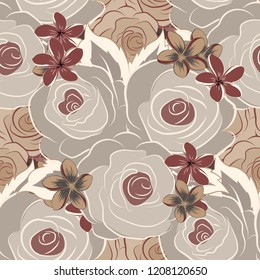 A vintage style seamless background pattern with hand drawn watercolor gray, brown and beige rose flowers in bloom.