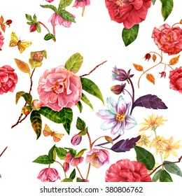 A vintage style seamless background pattern with hand drawn watercolor flowers (roses, camellias, hellebores, dahlias and others) and butterflies