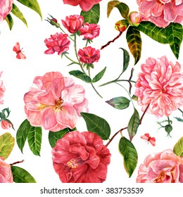 A vintage style seamless background pattern with hand drawn watercolor camellia and rose flowers in bloom, with green leaves