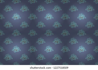 Vintage style. Seamless pattern of abstrat plumeria flowers in gray and blue colors. Stock raster illustration.
