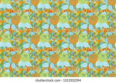 Vintage style. Seamless pattern of abstrat rose flowers and leaves in blue, orange and green colors. Stock raster illustration.