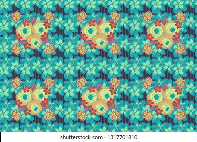 Vintage style. Seamless pattern of abstrat rose flowers and leaves in green, violet and blue colors. Stock raster illustration.