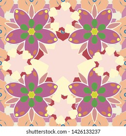 Vintage style. Seamless pattern of abstrat flowers in pink, green and beige colors. Stock illustration.