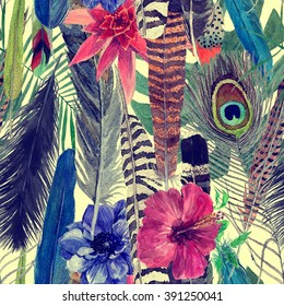 Vintage style seamless pattern with exotic feathers and leaves. Hand drawn watercolor illustration.