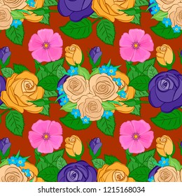 Vintage style. Stock illustration. Seamless pattern of abstrat rose flowers and green leaves in green, orange and yellow colors.