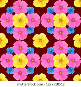 Vintage style. Stock illustration. Seamless pattern of abstrat cosmos flowers in red, yellow and pink colors.