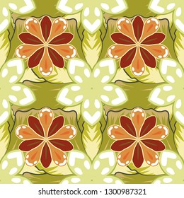 Vintage style. Stock illustration. Seamless pattern of abstrat flowers in white, beige and yellow colors.