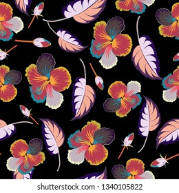 Vintage style. Stock illustration. Seamless pattern of abstrat hibiscus flowers in red, gray and black colors.