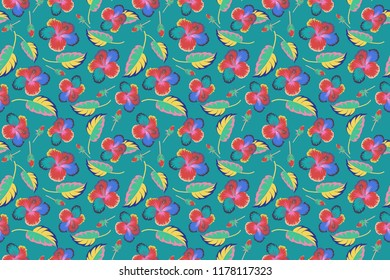 Vintage style. Stock raster illustration. Seamless pattern of abstrat hibiscus flowers in blue, pink and yellow colors.