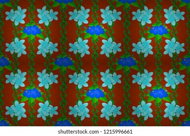 Vintage style. Stock raster illustration. Seamless pattern of abstrat plumeria flowers in blue, green and orange colors.