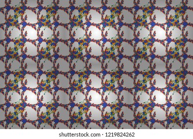 Vintage style. Stock raster illustration. Seamless pattern of abstrat poppy flowers in white, blue and red colors.