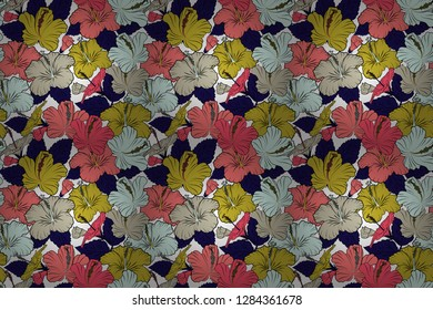 Vintage style. Stock raster illustration. Seamless pattern of abstrat hibiscus flowers in yellow and pink colors.