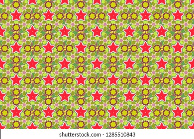 Vintage style. Stock raster illustration. Seamless pattern of abstrat flowers in red, yellow and green colors.