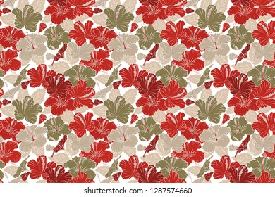 Vintage style. Stock raster illustration. Seamless pattern of abstrat hibiscus flowers in red, white and beige colors.