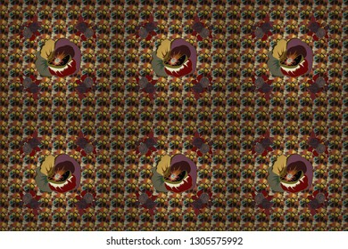 Vintage style. Stock raster illustration. Seamless pattern of abstrat poppy flowers in orange, brown and gray colors.
