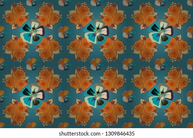 Vintage style. Stock raster illustration. Seamless pattern of abstrat cosmos flowers in orange, beige and blue colors.