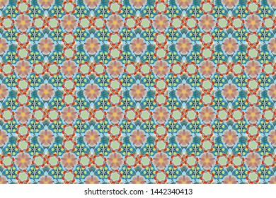 Vintage style. Stock raster illustration. Seamless pattern of abstrat flowers in green, beige and blue colors.