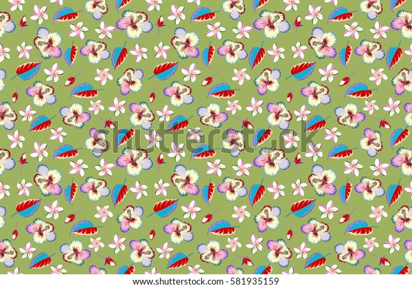 Vintage style. Tropical multicolored flowers, hibiscus leaves, hibiscus buds, seamless raster floral pattern on green background.