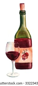 Vintage style watercolor drawing of a bottle of red wine with grapes on the label, with an elegant glass of wine